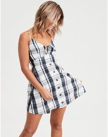 AE Plaid Tie Front Strappy Dress in Navy