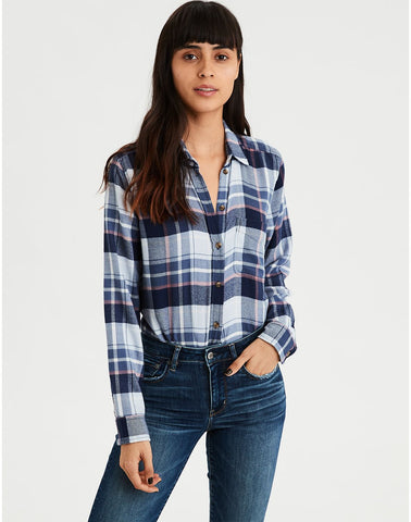 AE Ahhmazingly Soft Plaid Boyfriend Button-Down in Navy