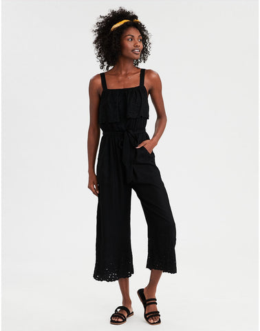 AE Overlay Schifflie Jumpsuit in True Black