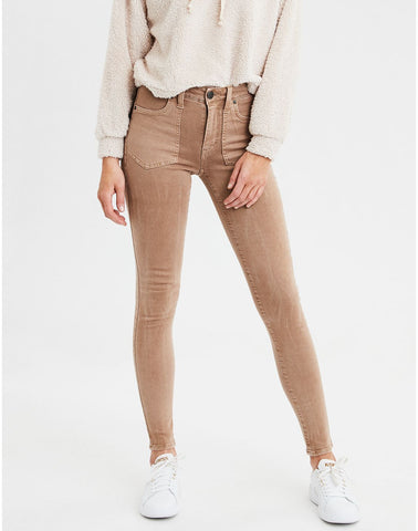 AE Ne(X)t Level High-Waisted Jegging Crop in Medium Brown