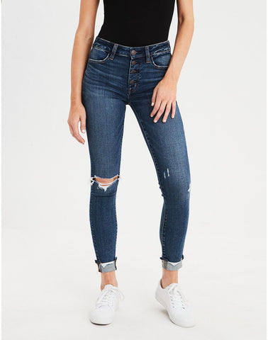 AE Ne(X)t Level High-Waisted Jegging Crop in Faded Indigo