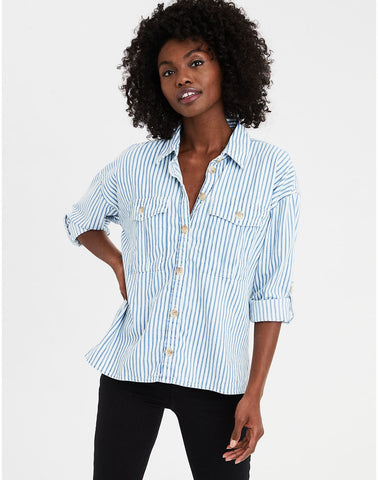AE Long Sleeve Stripe Button Down Top in Blue