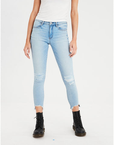 High-Waisted Jegging Crop in Shadow Patched Blues