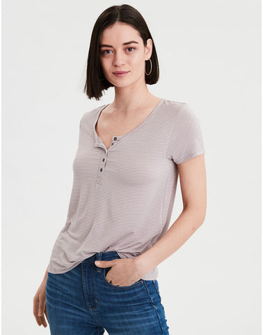 3b310efb2 American Eagle AE Short Sleeve Striped Jersey T-shirt in Mauve