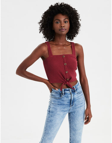 AE Tie Button Front Tank Top in Red