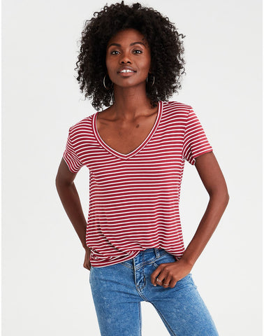3ce847287b American Eagle AE V-Neck Tee in Red