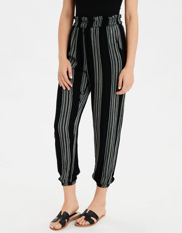 AE High-Waisted Striped Paperbag Jogger in Black