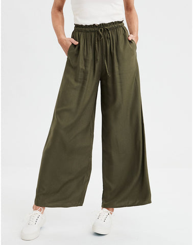 AE High-Waisted Palazzo Pants in Olive