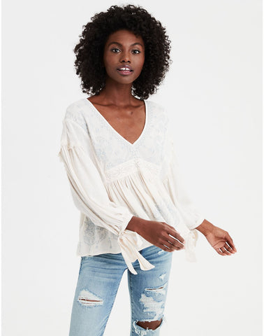 AE Long Sleeve Embroidered Bohemian Blouse in Cream