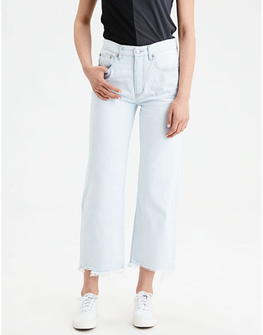 Wide Leg Crop Jean in Beautiful Bleach Out