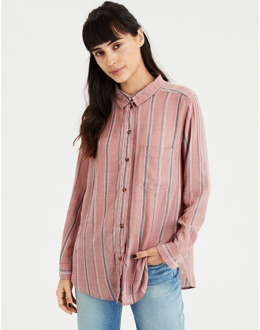 AE Striped Tie Front Top in Pink