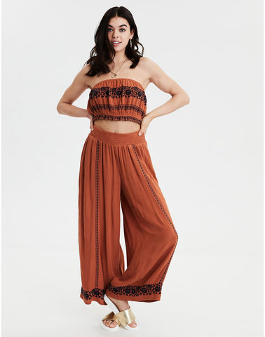 8eda125bae4 American Eagle AE Embroidered Cropped Tube Top in Rust