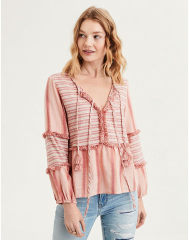 AE Long Sleeve Striped Blouse in Peach