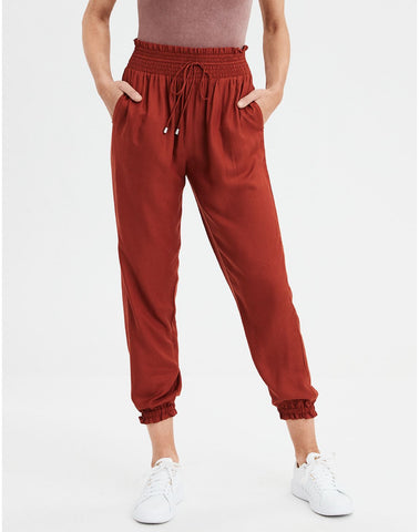 AE High-Waisted Jogger Pant in Brick Red