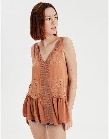 AE Lace Inset Shell Top in Brown
