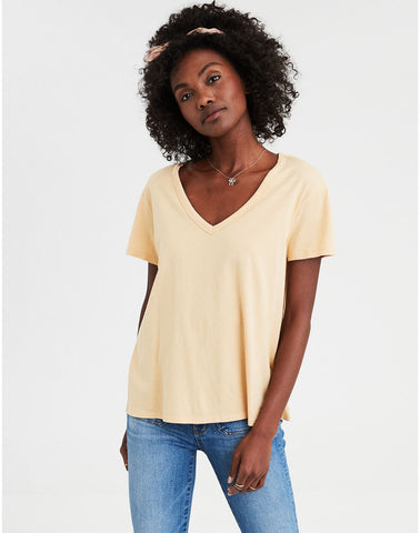 026ec11063 American Eagle AE V-Neck Tee in Yellow