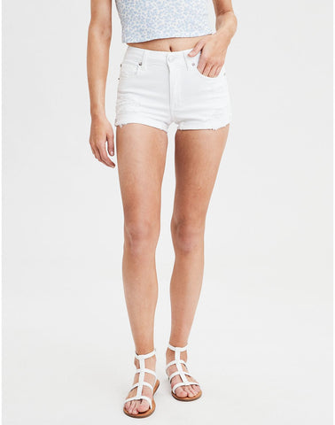 AE Ne(X)t Level High-Waisted Denim Short Short in White