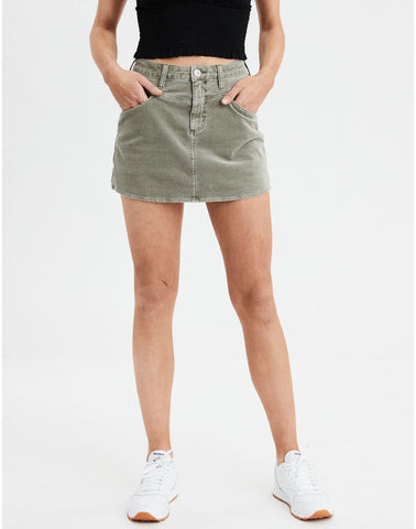 AE Highest Waisted Corduroy Skirt in Dusty Sage