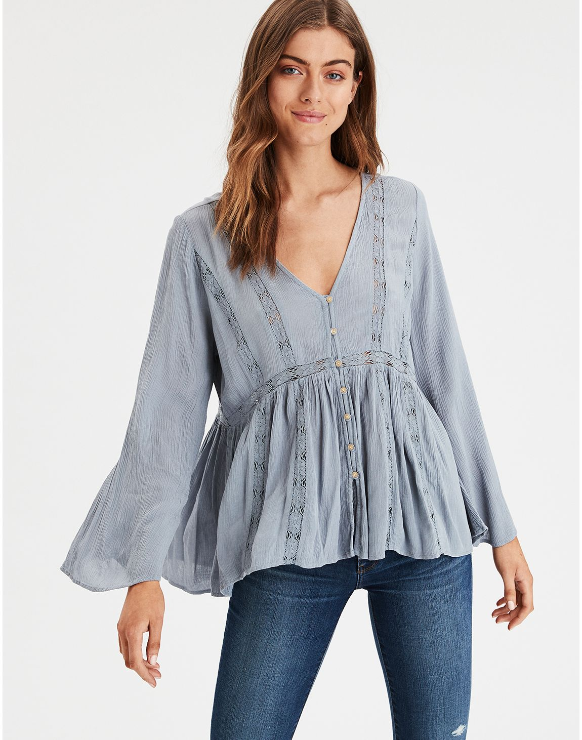 5d5acb572b23 American Eagle | AE Lace Inset Long Sleeve Tunic in Blue | American ...
