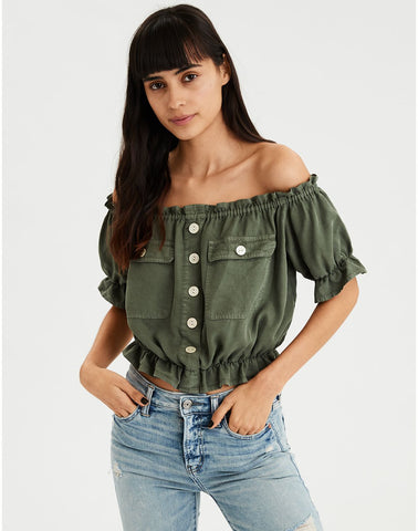 AE Utility Off-The-Shoulder Top in Olive