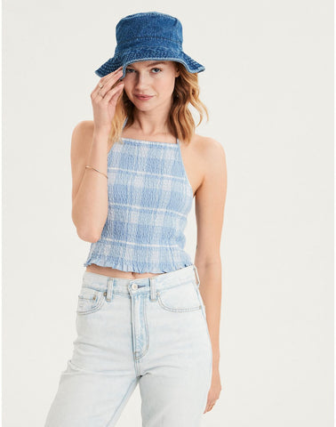 AE Cropped Plaid Halter Top in Blue