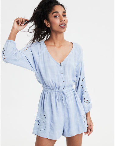 AE Long Sleeve Embroidered Romper in Light Blue