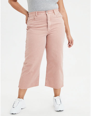 Wide Leg Crop Pant in Pink Clay