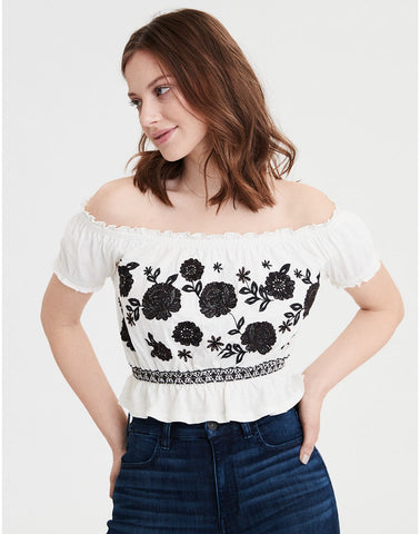 aa514452 American Eagle AE Off The Shoulder Embroidered Tee in Cream