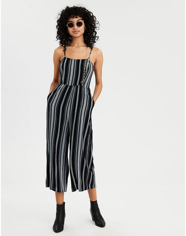 AE Striped Button Front Jumpsuit in Black