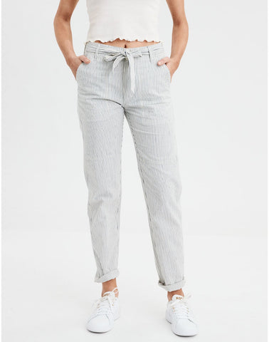 AE High-Waisted Striped Tapered Pant in Cream