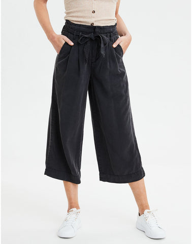 High-Waisted Paperbag Culotte in Faded Black