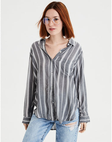 AE Striped Tie Front Top in Gray