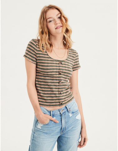 86a0d9a2920897 AMERICAN EAGLE AE Stripe Ribbed Button-Down Tee in Olive