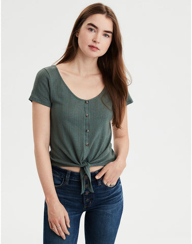 7495007090060 AMERICAN EAGLE AE Pointelle Button-Down Tie-Front Tee in Dusty Sage