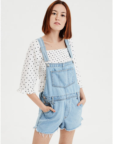 AE High-Waisted Tomgirl Short Overall in Light Wash