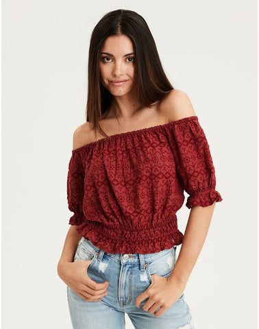 d15c629d American Eagle AE Off-The-Shoulder Top in Rust