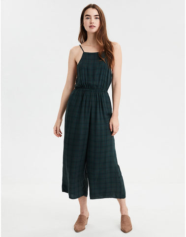eb94999aff AMERICAN EAGLE AE High Neck Plaid Jumpsuit in Green