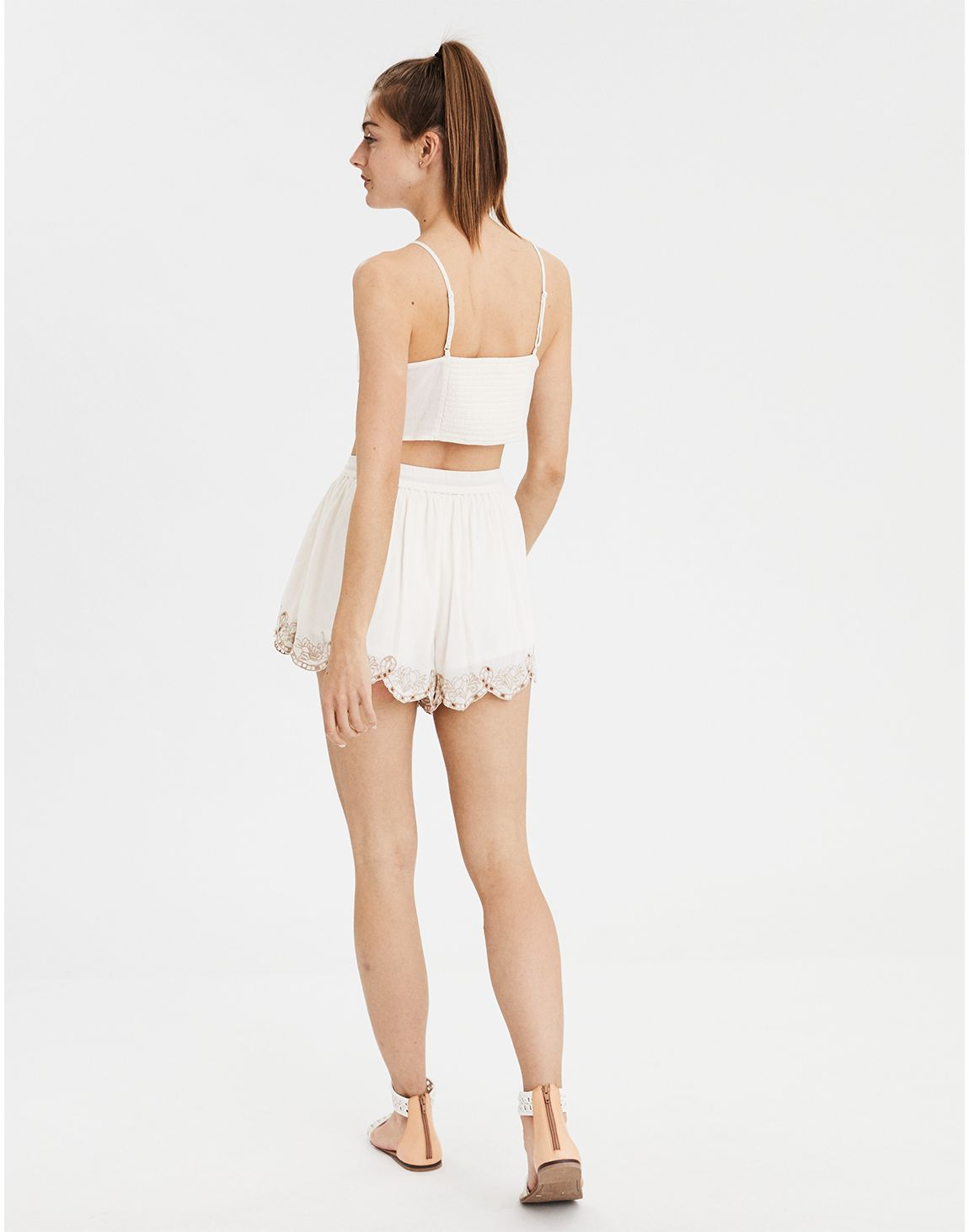 df4356ea5d7 American Eagle | AE Embroidered Corset Crop Top in White | American ...