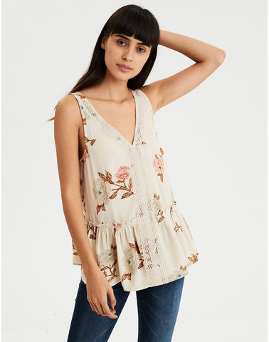 AE Floral Lace Inset Shell Top in Cream