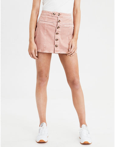 AE High-Waisted A-Line Corduroy Skirt in Blush