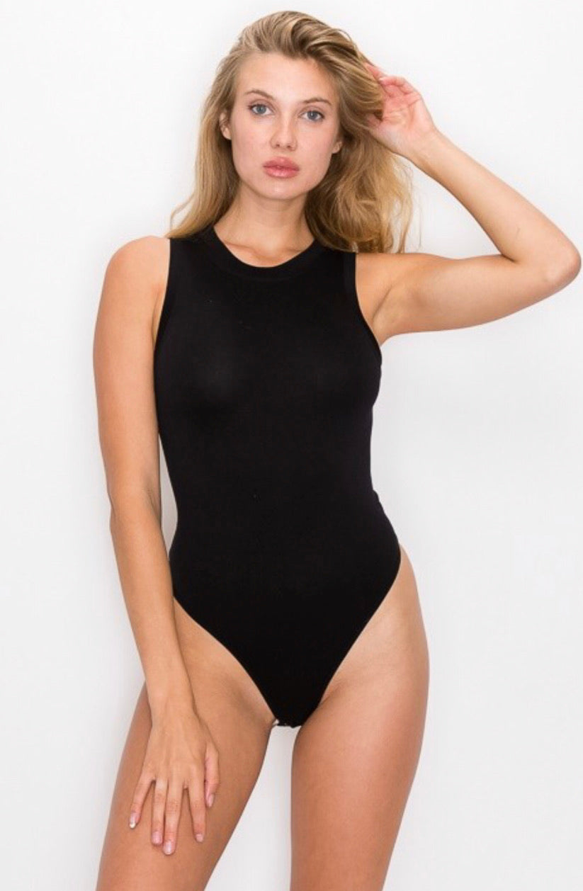Black, Beige, and Grey plain simple skin tight one piece woman bodysuit.