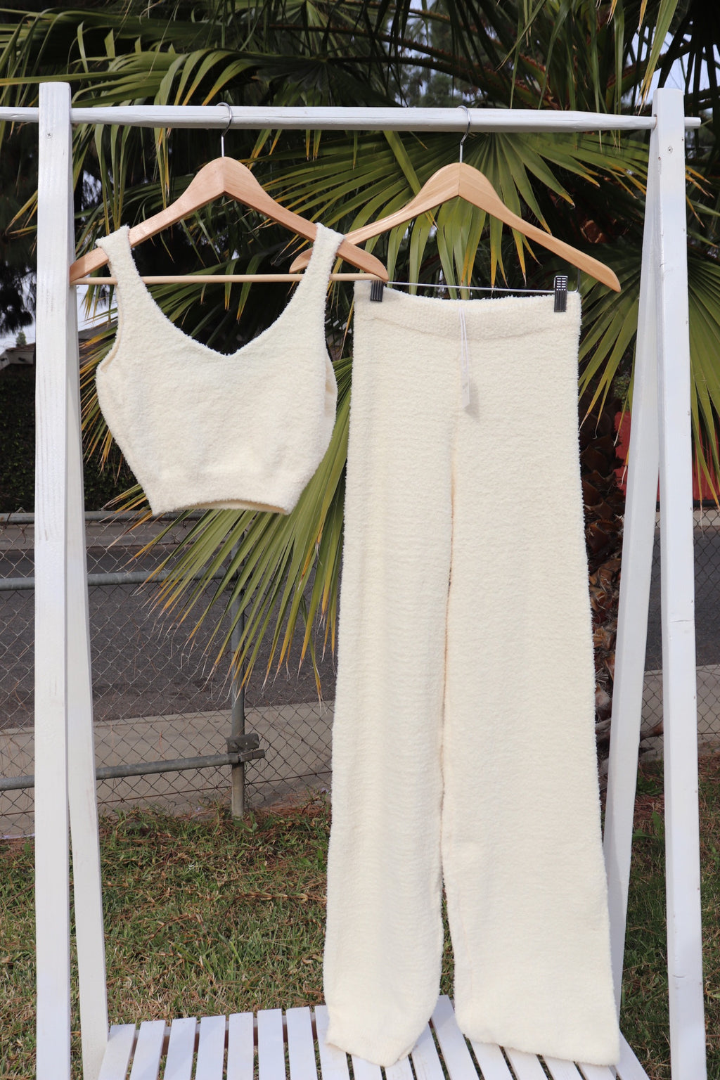 Bella 2 Piece Ivory Pants and Crop top set