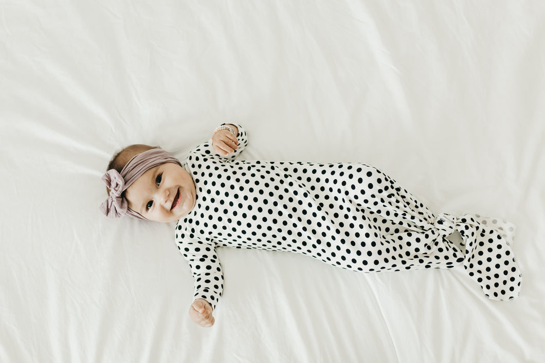 Black and White Polka Dot Knotted Gown