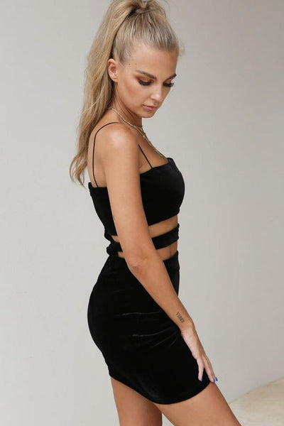 Spaghetti Strap Cut-Out Club Dress