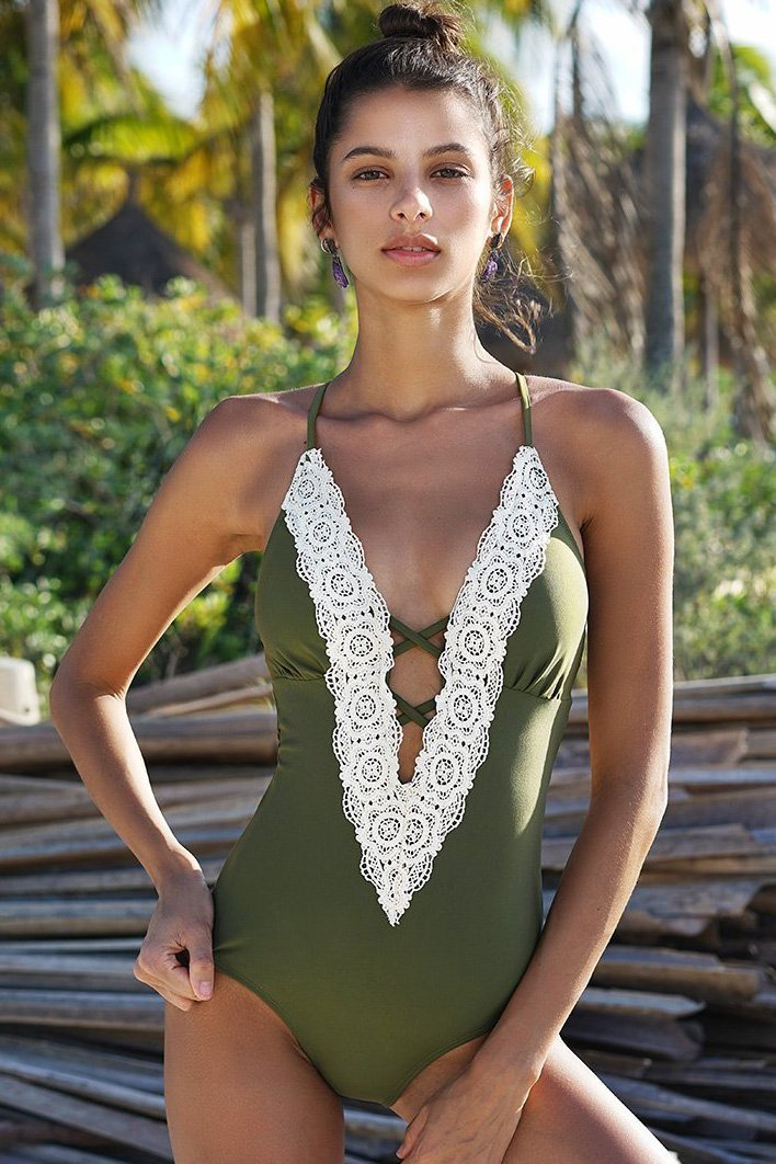 Sexy Lace Patchwork One-Piece Swimwear