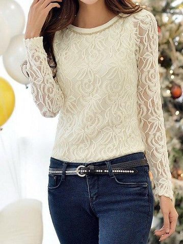 Round Neck Long Sleeve Spliced See-Through T-Shirt