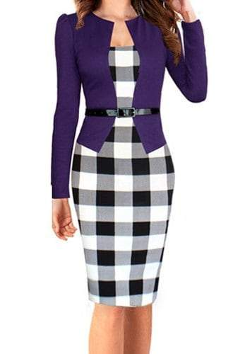 Checked Print Faux Twinset Dress