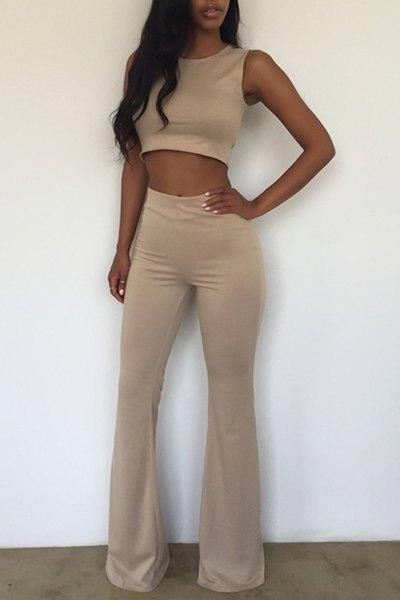Round Neck Sleeveless Crop Top + High-Wasted Solid Color Flare Pants Twinset