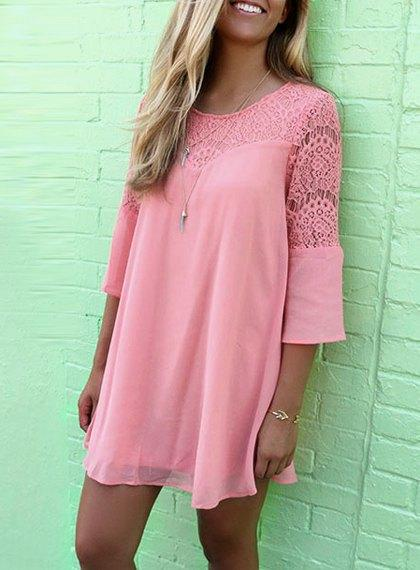 Scoop Neck Solid Color Openwork 3/4 Sleeve Dress For Women