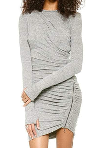 Round Collar Long Sleeve Zippered Pure Color Dress